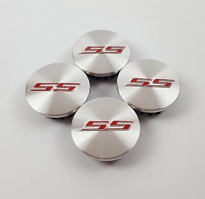 4X Silver Red SS Camaro Emblem Wheel Center Rim Hub Cap for Chevy 2.2'' Diameter Camaro Ss Wheel Emblems