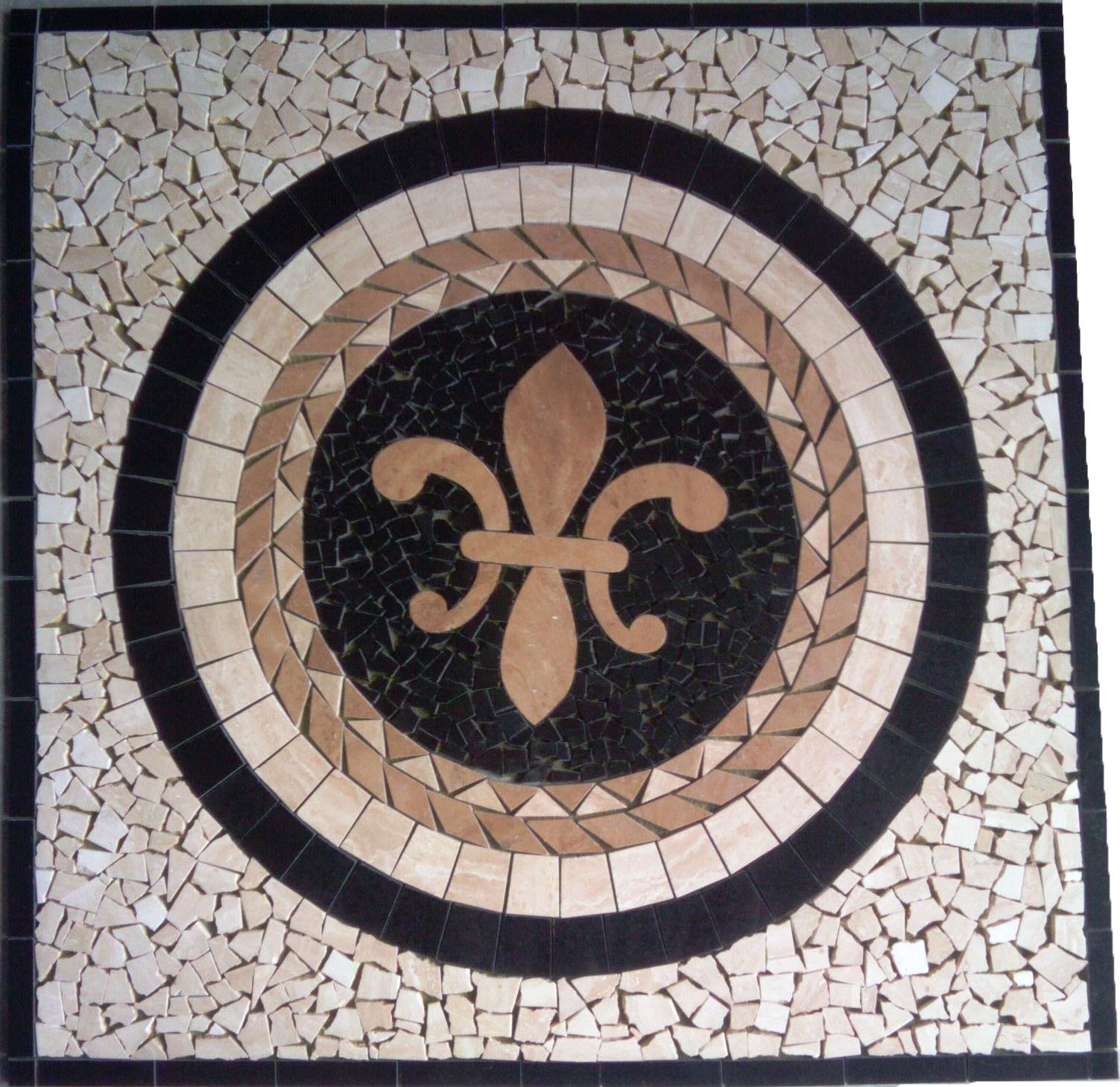 Floor Marble Medallion Fleur De Lis Travertine Square Tile Mosaic 28