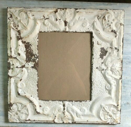 "23"" x 23"" Antique Reclaimed TIN CEILING Metal 11X14 Ivory Picture Frame 88-19"