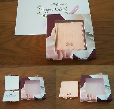 Ted Baker Rose Gold Double Sided Compact Mirror (Purse Bag) New Christmas Gift