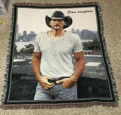 NICE Hudson Tim McGraw Country Music Knit Woven Flair Throw Blanket 60 x 50