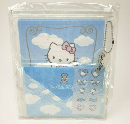 VINTAGE 1997 SANRIO HELLO KITTY STATIONARY 16 PAPERS 8 ENVELOPES & STICKERS SET
