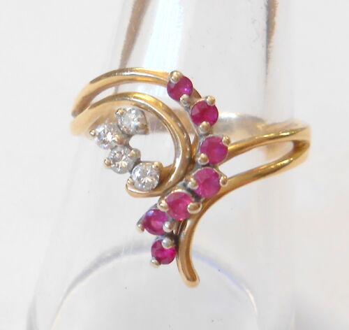 Vintage Ruby & Diamond Spray Design Split Shank 14K Yellow Gold Ring Size 8.75