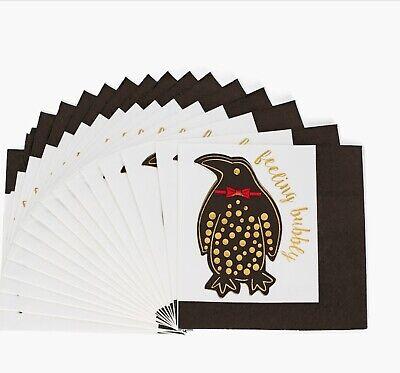 8 Oak Lane Bowtie Penguin 20 Beverage Napkin 5