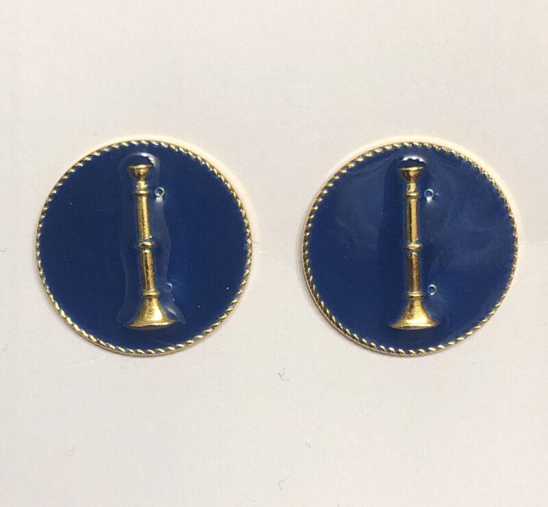 """1 Bugle Fire Dept Lieutenant GOLD & BLUE Disk Collar Lapel Pins 1"""" Insignia FD"""
