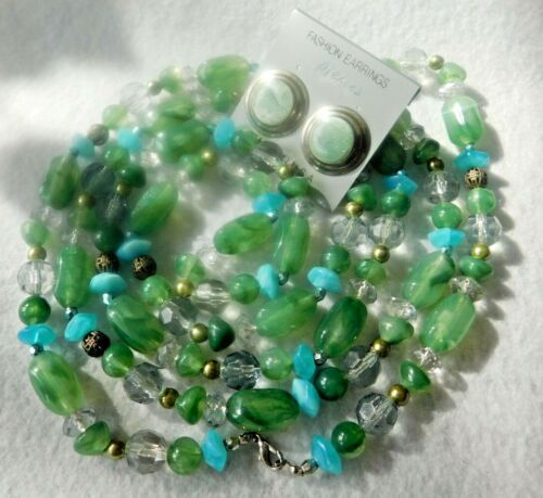 """Set 58"""" L Necklace Lucite Plastic Green Blue Clear Beads & Pair Earrings Green M"""