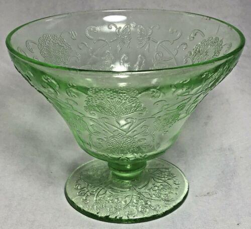 Vintage Florentine No 2 Poppy Hazel Atlas Green Sherbet Bowl Depression Glass
