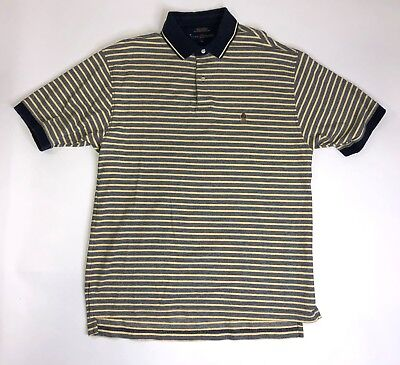 Vintage Tommy Hilfiger Men Size Large Navy & Yellow Striped Cotton Polo Shirt
