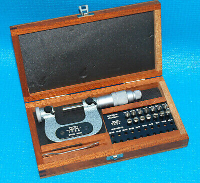 Brown Sharpe Tesa 0-1 Thread Pitch Micrometer With Full Set Of Anvils