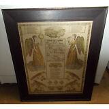 Original 1829 LEHIGH Pa Birth Certificate  HAND COLORED Fraktur FRAMED folk art