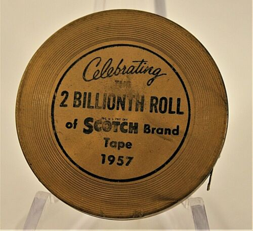 CHARITY- Vintage Mini 3M Scotch Brand Tape Measure 2 Billionth Roll 1957