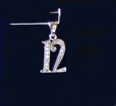 - Seattle Seahawks Ladies Number 12 Pendant 12th Man Bright Silver Rhodium Plated