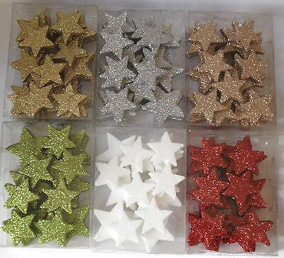 24 Glitter Sterne Styropor Stern Tischdeko Weihnachten Dekosterne Glitterstene