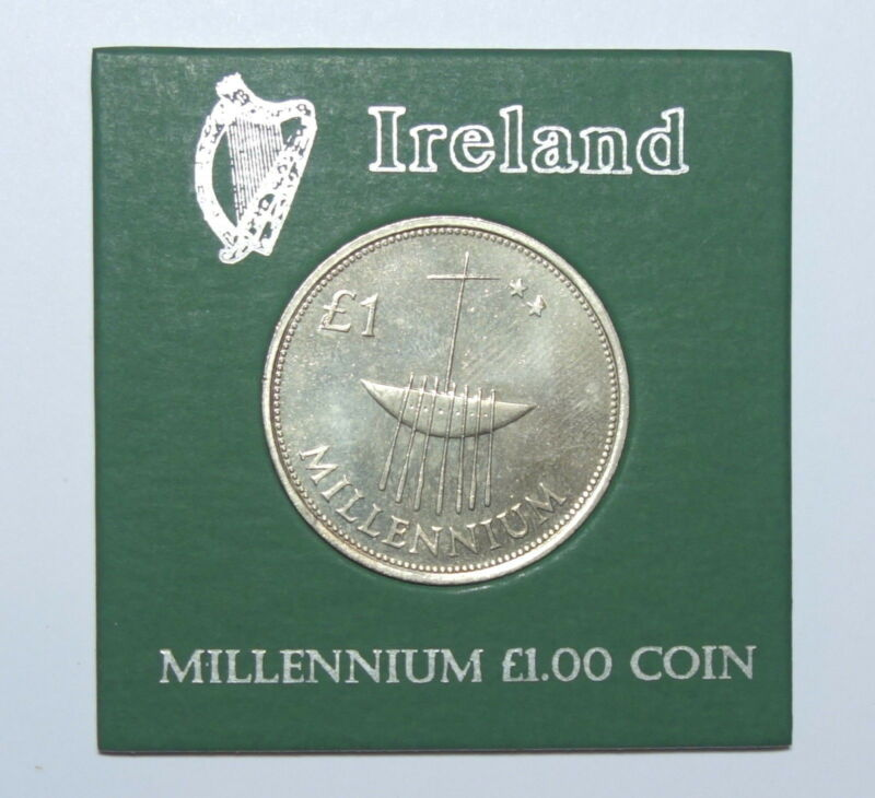 IRELAND:   MILLENNIUM ONE POUND COIN IN DISPLAY CASE. YEAR 2000.FREE SHIPPING