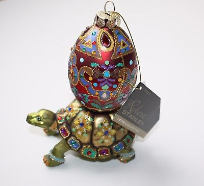 Robert Stanley Turtle with Egg Ornament Glass Decor New