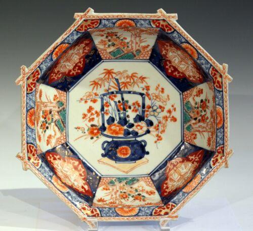 "Antique Imari Porcelain Octagonal Japanese Meiji Bowl Ikebana 19th Cen 12"" Dia"