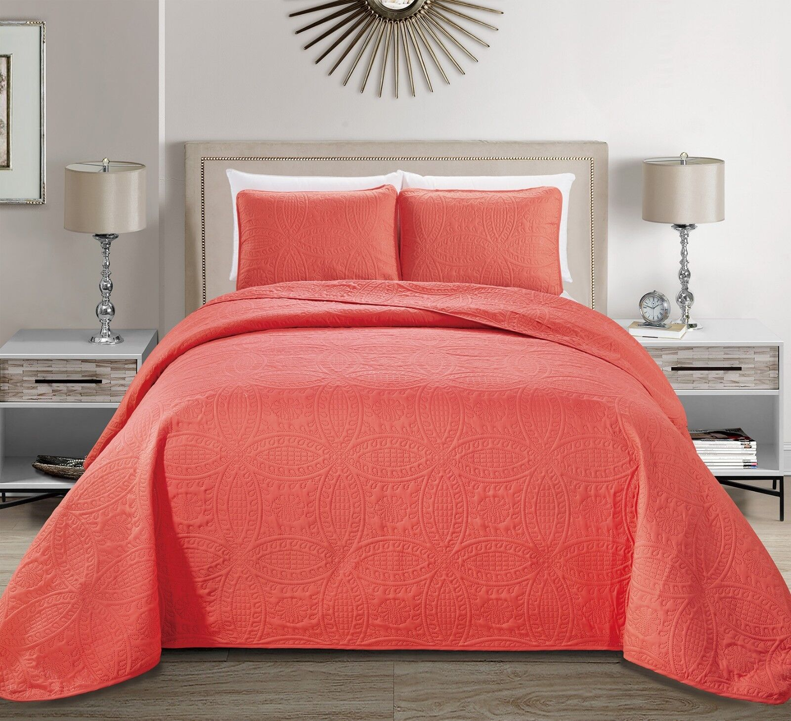 Fancy Linen Embossed Oversized Coverlet Bedspread Set Coral