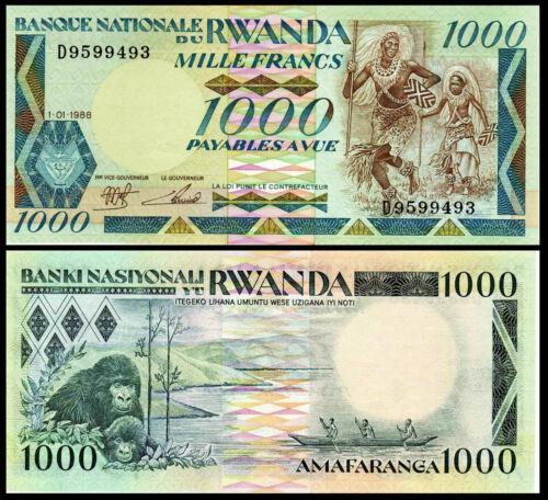 RWANDA 1,000 1000 FRANCS 1988 P 21 Ch. UNC GORILLAS AFRICAN MONEY