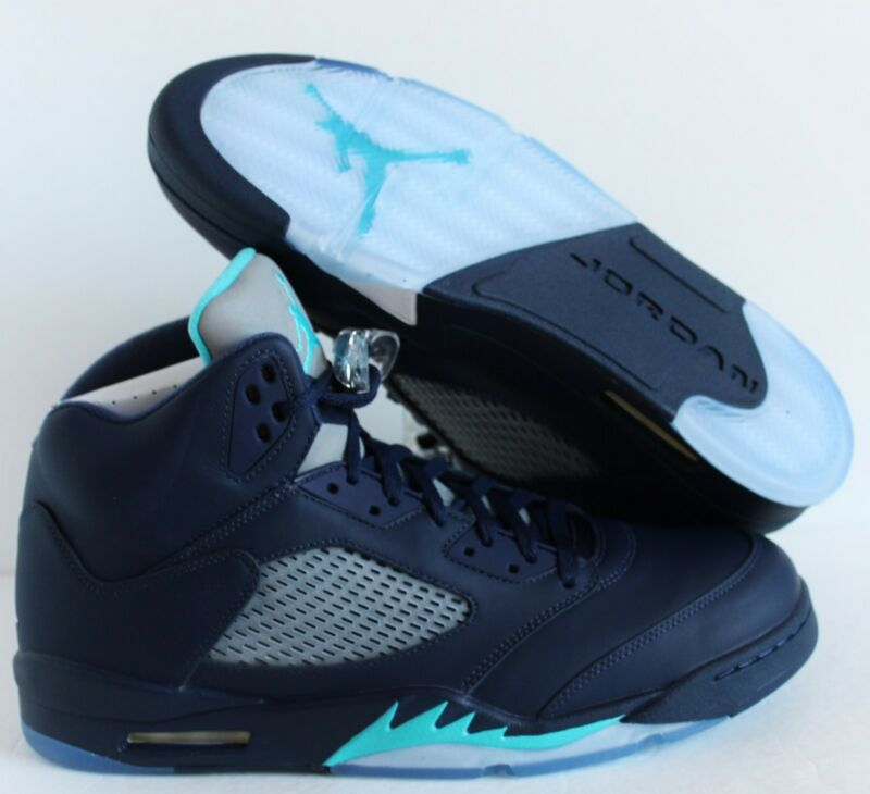 Nike Jordan Men's Air Jordan 5 Retro Midnight Navy/Trqs Blue/White Basketball Shoe 12 Men US 136027-405