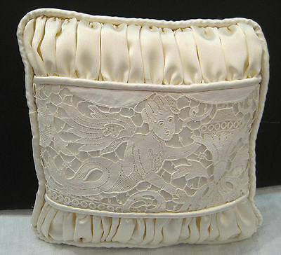 small handmade vintage lace ring-bearers pillow with tie - 8