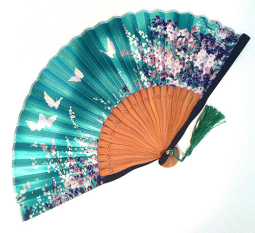 Japanese Bamboo Folding Fan with Cherry Blossom and Butterfly Print Green Color