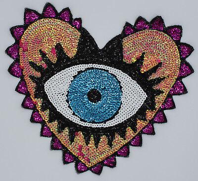 Sequin Patch: Eye in Heart