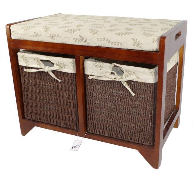 Cambourne Storage Bench,  Wood Frame Baskets & Seat Cushion N0133