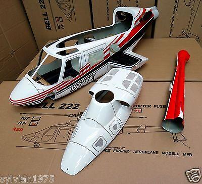 (NEW Version FunKey 700 size BELL 222 Scale Fuselage + Retract Landing Gear RED)
