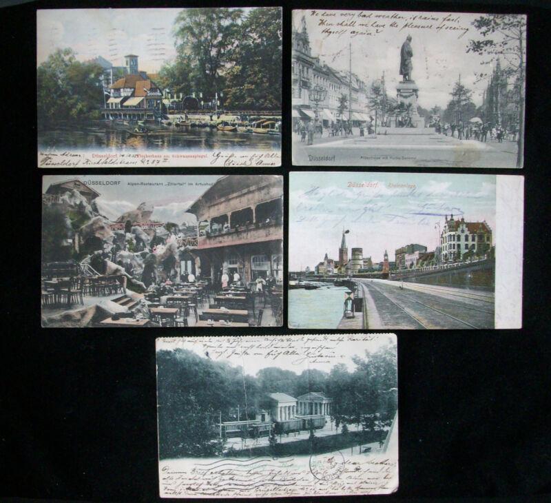 5 German Postcards Düsseldorf Germany Postmarked 1905 1906 Used With Handwriting