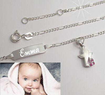 Baby Armkette Armband Wunsch Gravur Name Geburt Echt silber Taufe Schutzengel