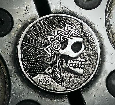 Coalburn classic Hobo Nickel  engraved Love token chief skull