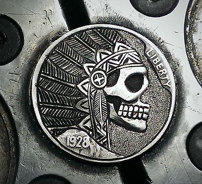 Coalburn classic Hobo Nickel  engraved Love token chief skull