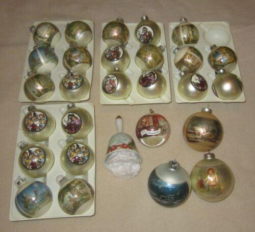 LOT OF VINTAGE CORNING GLASS CHRISTMAS ORNAMENTS + SCHMIDT