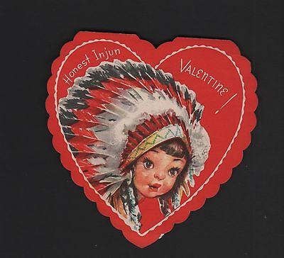 vintage fold Valentine Card pretty Girl Native feathers Honest Injun
