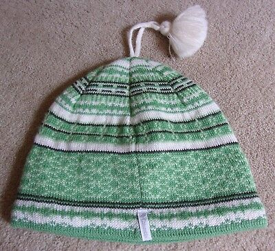 - COLUMBIA-Wool Knit Cap/Hat-YOUTH-Green Fair Isle-Tassel Pom/Fleece Lined-RETIRED