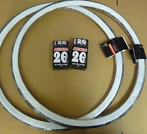 Pair 26 x 1 3/8 White wall Raleigh Record Tyres &  Innertubes 37-590 Bicycle