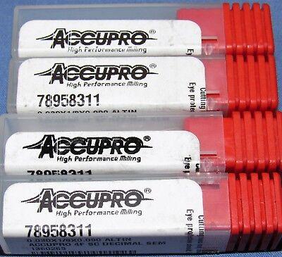 Brand New Accupro 0.030 Dia. Carbide End Mills Altin Coated 4 Pcs Lot