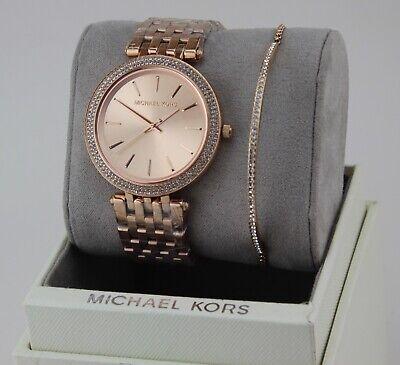 NEW AUTHENTIC MICHAEL KORS DARCI ROSE GOLD BRACELET SET WOMENS MK3715 WATCH