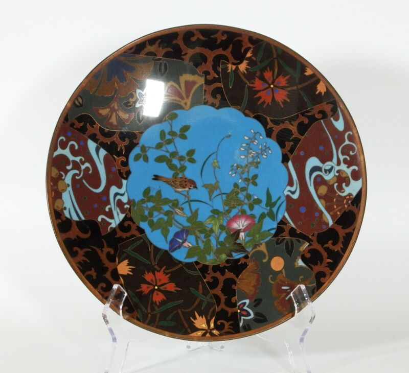 Antique Japanese Cloisonne Charger With Songbird