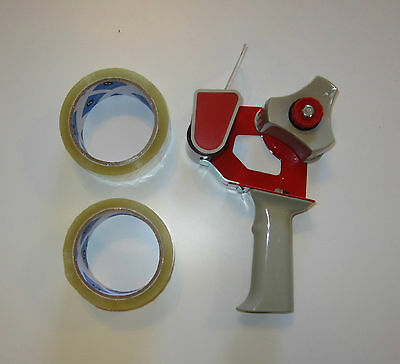 One New Heavy Duty Handheld Tape Gun Dispenser And 2 Rolls Of 2 Tape