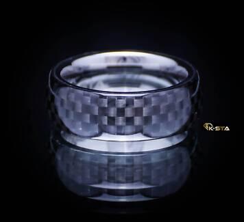 K-sta BUGATTI Tungsten Carbide Ring Carbon Fiber Wedding Band Prestons Liverpool Area Preview