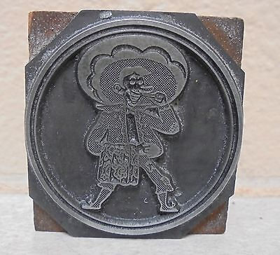 Vintage Bull Clown Cartoon Logo Metal Wood Letterpress Printing Block Type