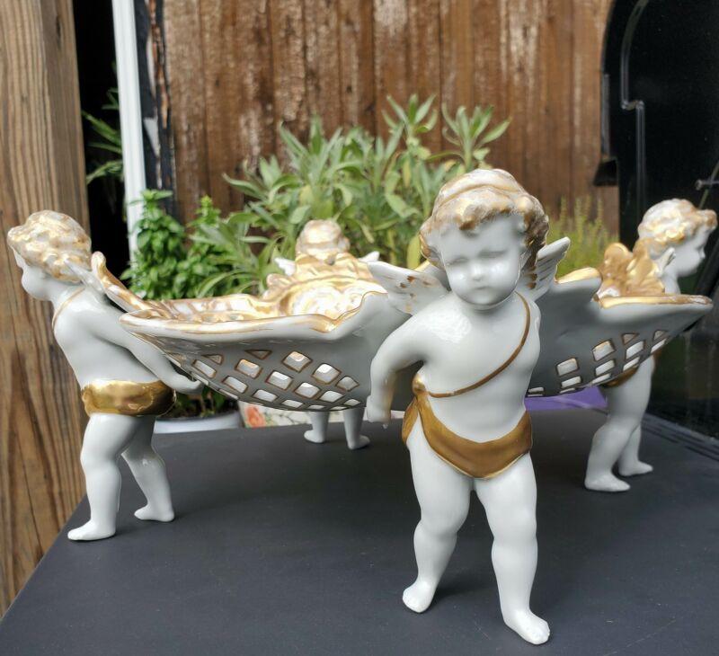 Antique German Porcelain Footed Centerpiece Bowl Cherubs Putti Schierholz Plaue