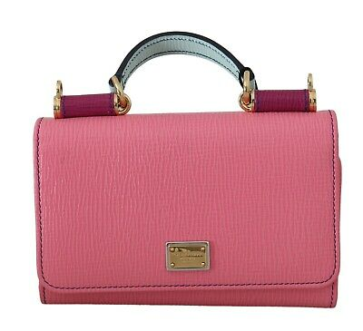 DOLCE & GABBANA Bag Purse Sicily VON Pink Leather Hand Borse Mini RRP $740