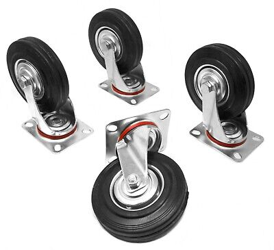 Wen Ca5225w 5-inch 220-pound Capacity Rubber Swivel Plate Caster 4-pack