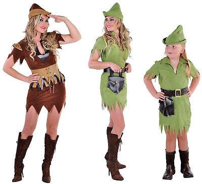 Robin Hood Peter Pan Jäger Girl Kostüm Kleid Damen Mittelalter Karneval (Peter Pan Damen Kostüme)