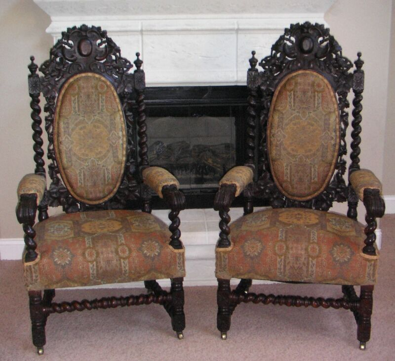 Antique Pair of French Hunt Chairs Hand Carved from Oakca 1890
