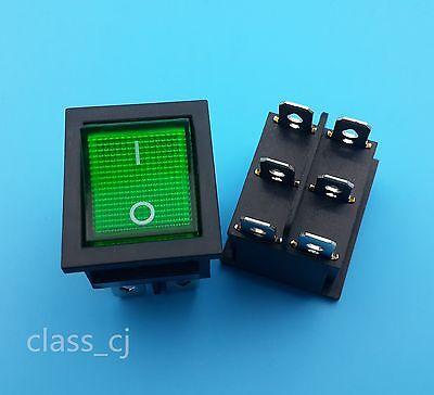 5pcs 6pin Green Lamp Dpdt Sanp-in Panel Mount Rocker Switch Kcd4-202n