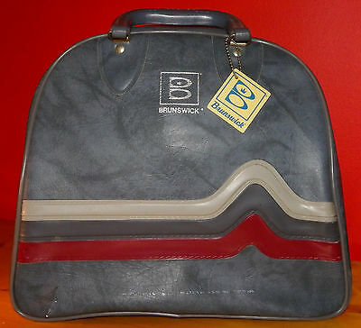 Vintage Brunswick Bowling Ball Bag with Wire Rack Grayish Blue w/stripes TAG