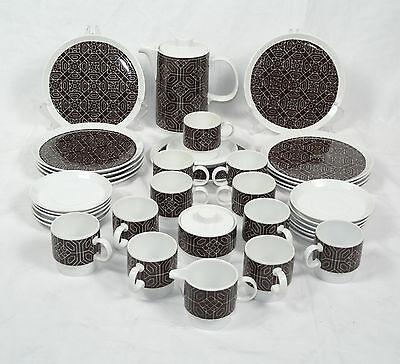 """Melitta Hamburg Vintage Kaffeeservice 60"""" Geometric Scandinavian Design 36 tlg"""